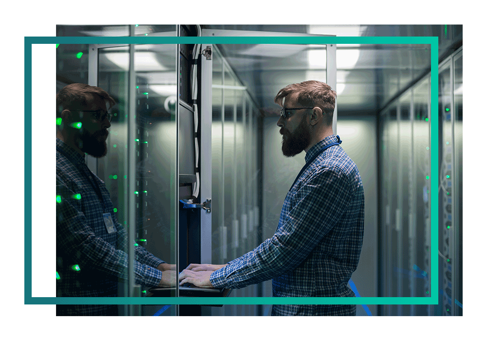 A security cleared admin looking at a server in a datacentre