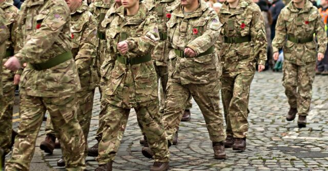 Army officers marching