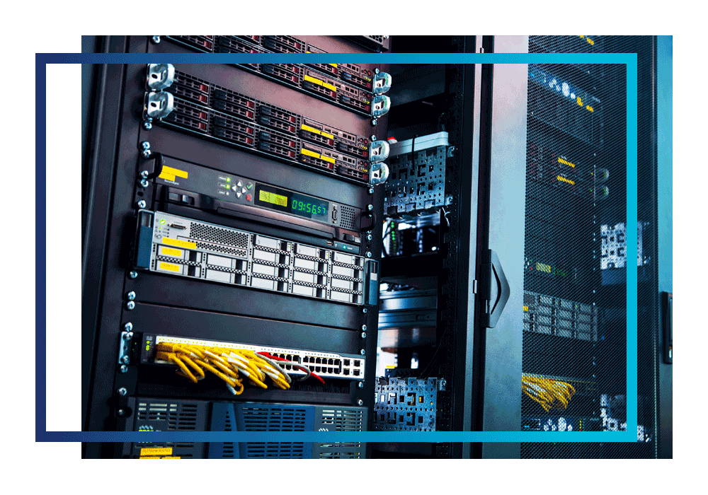 Close up of a server in a health datacentre