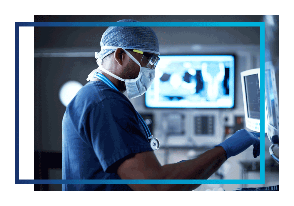 A doctor using cloud-enabled medical imaging technology