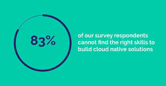 83% of our survey respondents in our state of cloud adoption report cannot find the right skills to build cloud native solutions