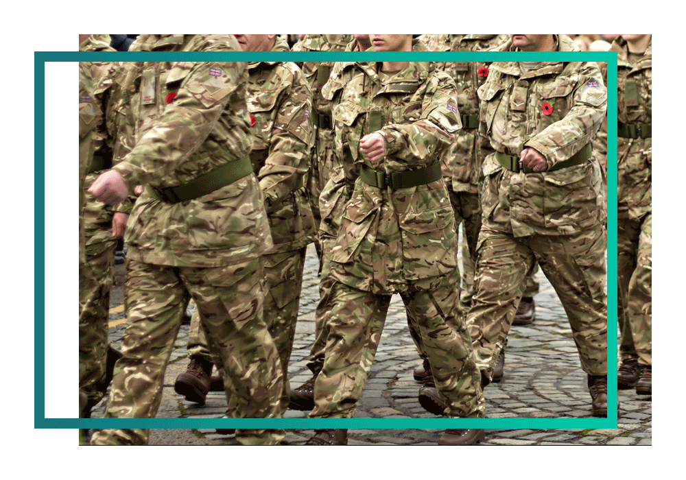 Military officers marching