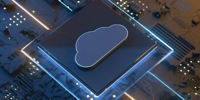 An image of a cloud shown above a microchip
