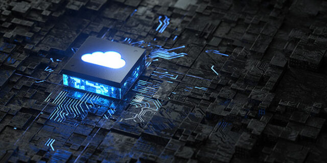 An image of a futuristic microchip and a cloud logo