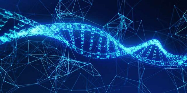 DNA Helix with data strands