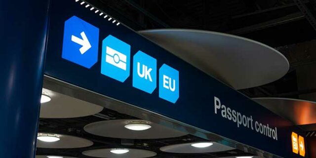 An image of the passport control centre at a UK-based airport