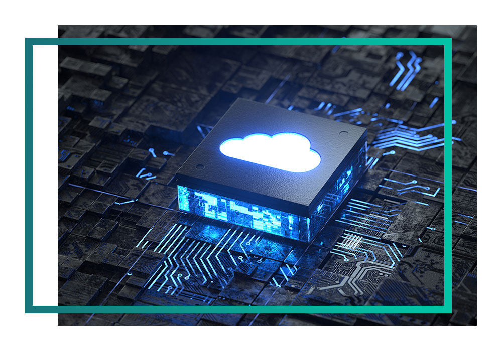 A microchip with an image of a cloud on top.