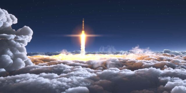 Rocket propelling into the sky