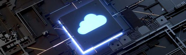 A futuristic microchip with a cloud logo on top